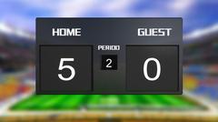 soccer match scoreboard home wins 5 & 0 - stock illustration