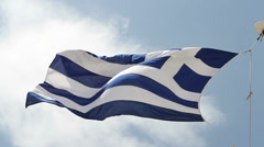 Greek Flag Waving Under Blue Sky - Full High Definition Video, 1920X1080 Stock Footage