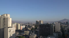 Pan from Santiago de Chile city in the morning Stock Footage