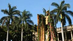 King kamehameha, statue, leis, honolulu, oahu, hawaii. Stock Footage