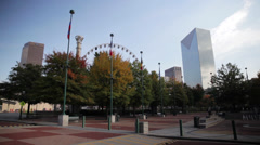Centennial Olympic Park Atlanta Skyline Stock Footage