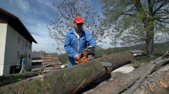 Man in protective clothes chainsawing wood Stock Footage