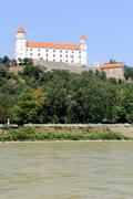 Bratislava castle situated on a plateau 85 metres (279 ft) above - stock photo