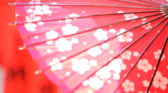 Traditional Japanese Red Paper Parasol Tourism Advertising Outdoors Stock Footage