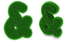 Ampersand sign made of grass - stock photo