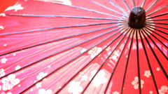 Japanese Culture Oil Paper Parasol Clothing Tourism Japan Travel Stock Footage
