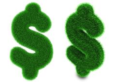 US dollar symbol made of grass - stock photo