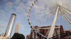 Atlanta Ferris Wheel with Skyline Stock Footage
