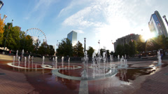 Fisheye Centennial Olympic Park fountains - stock footage