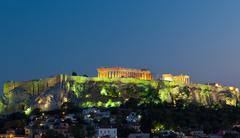 Acropolis Parthenon by night, Athens, Greece - stock photo