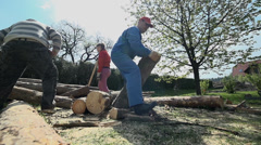 Two men moving big logs in slow motion Stock Footage