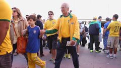 Soccer fans celebrate before the match Brazil x Croatia Stock Footage