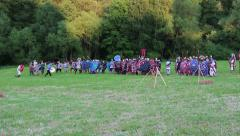 Roman soldiers are attacked by gauls Stock Footage