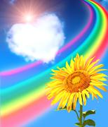 Rainbow, sunflower and heart from clouds Stock Illustration