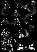 Stock Illustration of Flourishes decorative details on black background