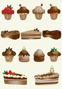 Stock Illustration of Tasty and decorated pastries cupcakes and pies