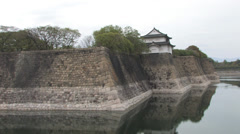 External Ramparts and Tower of Osaka Castle, Japan - stock footage