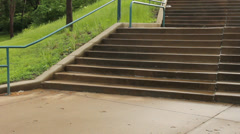 Wheelchair encounters stairs Stock Footage