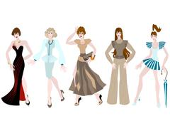 Stock Illustration of Beautiful girls in different clothing style.