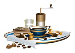 Stock Illustration of Cup of coffee and dessert on a white napkin