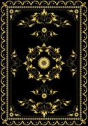 Stock Illustration of Ornament oriental rugs with golden decor