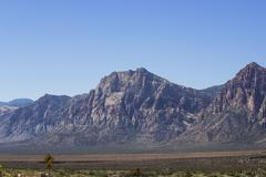 WS of mountains opposing Red Rock Canyon - stock photo