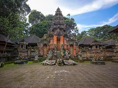 Hindu Temple at Monkey Forest Sanctuary in Ubud, Bali, Indonesia Stock Photos