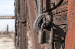 Old latch and padlock Stock Photos