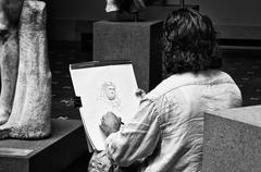 The man who draw stones Stock Photos