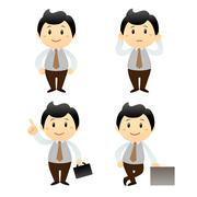 Stock Illustration of set businessman cartoon character