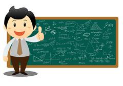 illustration of a man showing graph and math on a white background - stock illustration