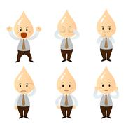 set businessman cartoon character - stock illustration