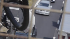 Out of focus traffic with speed camera Stock Footage