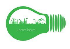 light bulb city - stock illustration
