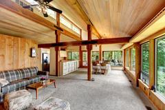 Log cabin house interior Stock Photos