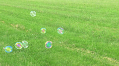 Soap Bubbles Floating on Green Grass Stock Footage