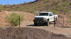 Sheriff Truck Approaches Mexico Border Stock Footage