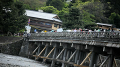 Tourists Togetsukyo Bridge Oi River Arashiyama Kyoto Japan Asia Stock Footage