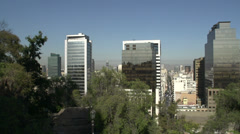 Pan Santiago de Chile city view from Santa Lucía Hill Stock Footage