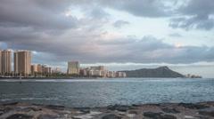 Waikiki Beach & Diamond Head Time Lapse Video Stock Footage