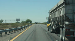 Passing an 18 Wheeler on a Deserted Highway - stock footage