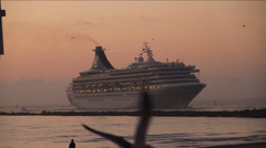 Cruise Ship with Seagulls in Slow Motion at dusk or dawn Stock Footage