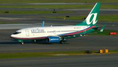 Stock Video Footage of AirTran Airlines Boeing 737 taxies to runway