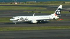 Alaska Airlines Boeing 737 airplane taxies Stock Footage