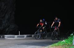 Friendshiop outdoor on mountain bike Stock Photos