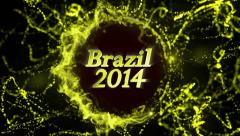 Brazil 2014 Gold Text in Particles Stock Footage