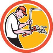 Plumber monkey wrench pipe circle cartoon Stock Illustration