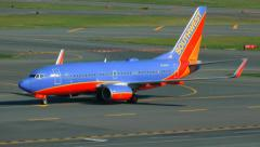 Southwest Airlines airplane arrival Stock Footage