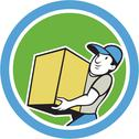 Stock Illustration of delivery worker carrying package cartoon