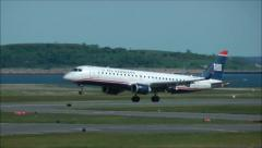 US Airways airplane landing Stock Footage